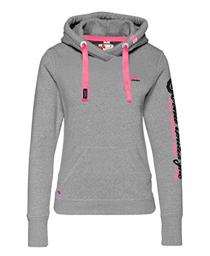M.Conte Rachel Kapuzenpullover für Damen Hooded Sweater Sweat-Shirt-Jacke S M L XL Weiss Blau Grau Schwarz Pink Mit Kapuze L Grau Melange