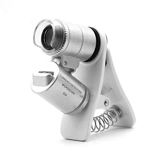 60x-Zoom-Mikroskop-Lupe, LED + Uv-Licht Clip-on-Mikroobjektiv für Universal-Mobiltelefone Universal-Klammer für Telefon (60x Mit Clip) Clip-on-lupe