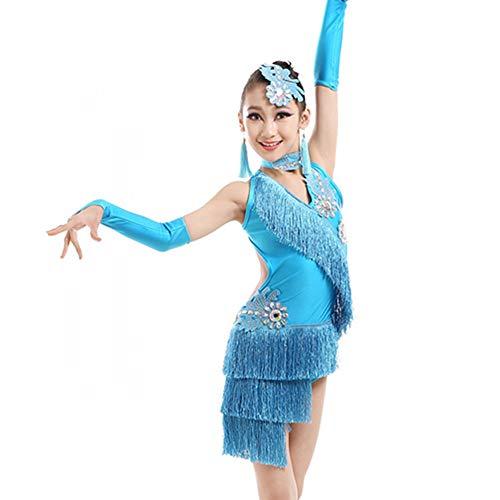 GOWE Mädchen Kinder ärmellose Pailletten Unregelmäßige Fransen Lyrischen Latin Dance Kleid - Kinder Ballett Ballsaal Rumba Tango Salsa Tanz Kostüm Leistung Wettbewerb Kostüme, Himmelblau/130 (Tanz Wettbewerbs Kostüm Lyrischen)