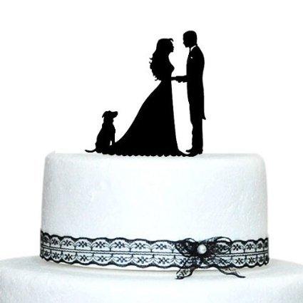 Unique Wedding Cake Toppers Braut und Bräutigam mit einem Hund Acryl Hochzeit Tortenaufsatz für Kuchen Dekorationen