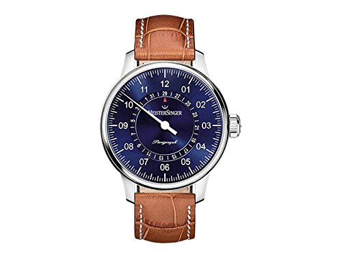 MEISTERSINGER MEN'S SINGLE HAND PERIGRAPH 43MM BROWN AUTOMATIC WATCH AM1008