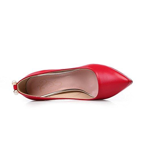 AllhqFashion Femme Pointu à Talon Haut Matière Souple Mosaïque Tire Chaussures Légeres Rouge