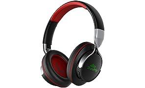 Advanced ShareMe Tech Auriculares Bluetooth con Micrófono Hi-Fi Deep Bass Auriculares Inalámbricos Sobre El Oído, Almohadillas de Protección Cómodo, 18 Horas Playtime Para Viaje - Negro y Rojo