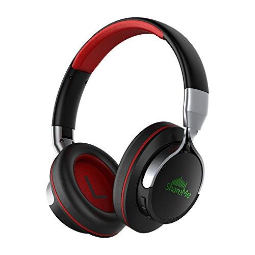 Auriculares Bluetooth, Mixcder Shareme 7 Cascos Inalámbricos con Micrófono Hi-Fi Deep Bass, Graves Profundos Streaming de Música,18 Horas de Tiempo de Play, para iPhone / Android / Tablet / Portátil y Más, Negro y Rojo