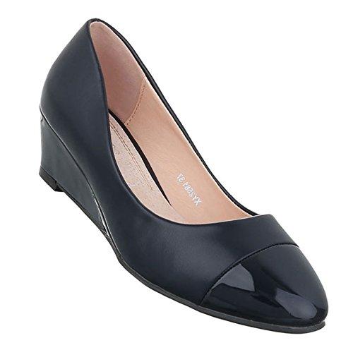 ad22afeb585ce7 Damen Pumps Schuhe Elegant High Heels Keil Wedges Dunkelblau -toman ...
