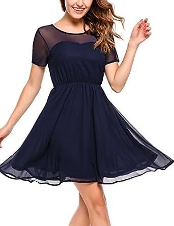 zeagoo damen elegant chiffonkleid sommerkleid partykleid hochzeit festliches kleid a linie. Black Bedroom Furniture Sets. Home Design Ideas