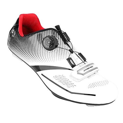 Alomejor 1 Paio Scarpe da Ciclismo Anti-Skid SPD Sistema di Blocco Scarpe da Bici da Strada Traspirante Uomo Adulto(44-Bianco)