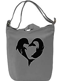 Heart Dolphins Slogan Bolsa de mano Día Canvas Day Bag| 100% Premium Cotton Canvas| DTG Printing|