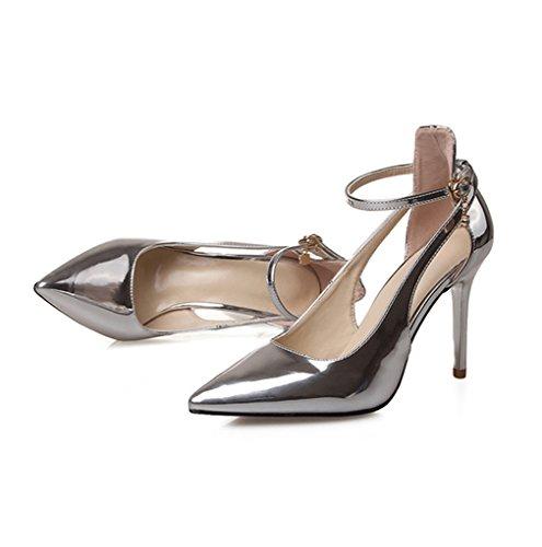 Damen Pumps Einfach Klassisch High-Heels Knöchelriemchen Hohl Spitz Zehen Rutschhemmend OL Elegant Büro Freizeit Schick Stiletto Silber