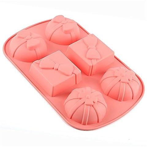 6 Hohlraum-Geschenkkarton-Silikon-Kuchen-Brot-Form Schokoladen-Gelee-Süßigkeit-Seifen-Backform (Wilton Kuchen Tin)