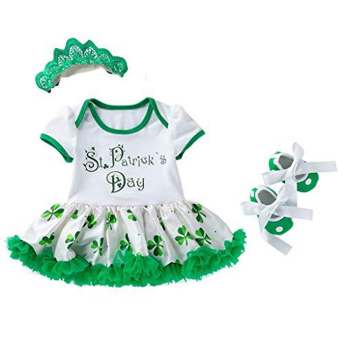 Baby St. Patrick's Clover Kleid, kurzärmelig, 3-teiliges Set, St. Patrick's Day,Kleinkind Cosplay Kostüm, für Zuhause, Party, Geburtstag, Halloween, Schule Krippe Gr. 80 cm, - Schule Mädchen 3 Teilig Kostüm