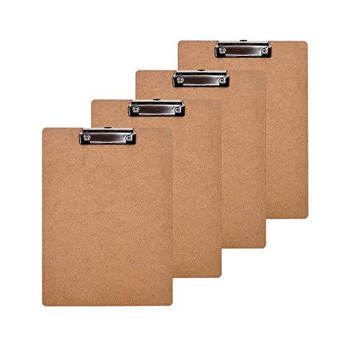morepack Buchstabe Größe Klemmbrett Low Profile Clip Standard Clip aus Hartfaserplatte, 4PACK -