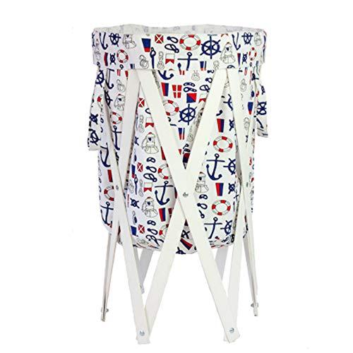 EXQUI - Cesta de almacenamiento de ropa sucia de madera maciza con bolsa de tela plegable para la colada, contenedor profundo y grande, diámetro: 40 cm