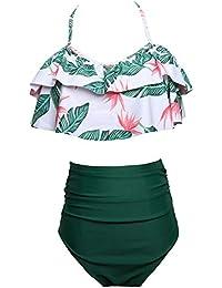 Bikini de Cintura Alta para Mujer Bikini de Cintura Alta Ruffles (L, Verde)