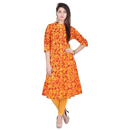 9. Palakh Women's Cotton Straight Printed Kurti (PK1015328Yellow-M_Medium,Yellow&Orange)