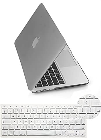 Yarrashop® 2 IN 1 Rubberized Matte Hard Shell 13.3 Inch Frosted MacBook Pro Case with Protector EU/UK Version Keyboard Skin Cover For Apple MacBook Pro 13 Without Retina Display (Model: A1278)- Grey