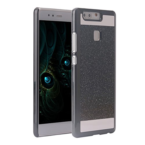 Huawei P9 Cover PC, Asnlove custodia in policarbonato rigida dura hard case transparente morbile crystal caso bling brillanti protezione back shell cassa, Nero