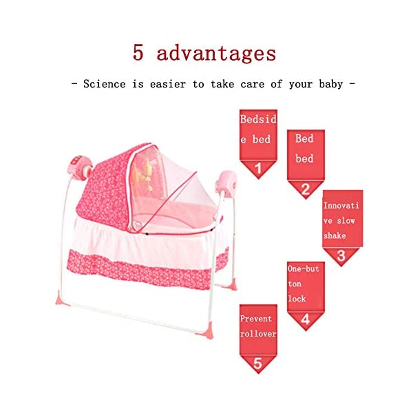 Mr.LQ Baby Cradle Baby Shaker Baby Sleepy Baby Artifact Multi-Function Intelligent Electric Crib,Pink,94x79x42cm  Five advantages of electric cradle 01 easy to sleep, baby is easy to fall asleep, liberating mother's hands 02 puzzle is good for baby brain development 2