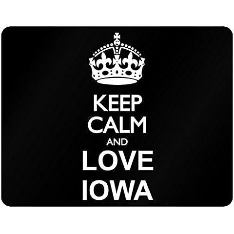 Teeburon Keep calm and love Iowa Horizontal Sign