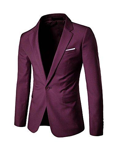 Slim Fit Uomo Casual One Button elegante vestito di affari cappotto giacca Blaze Rosso scuro
