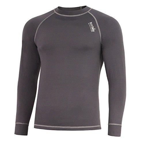 Mount Swiss Herren Thermowäsche Shirt, Davos, graphit, Gr. L / Thermo-Unterwäsche langarm Unterhemd Funktionsunterwäsche Thermoaktiv