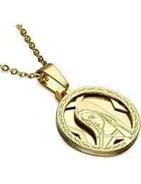 BOBIJOO Jewelry - Pendentif Médaille Ronde Vierge Marie Acier Doré Or Fin  pour Femme + Chaîne 21bdaa7b92d