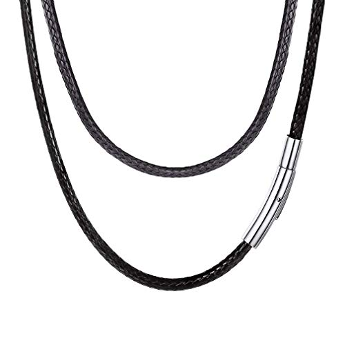 FOCALOOK 60CM Halskette Mode Kunstleder Collier Wachsschnur Kette 3mm breit Schwarz Geflochten Lederkette Gothic Lederband mit Edelstahl Verschluss für Männer Frauen Jungen Mädchen