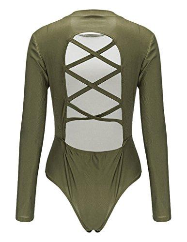 Bigood Bodysuit Manche Longue Femme Sexy Jumpsuit Combinaison Dos Nu Col Rond Clubwear Soirée Vert