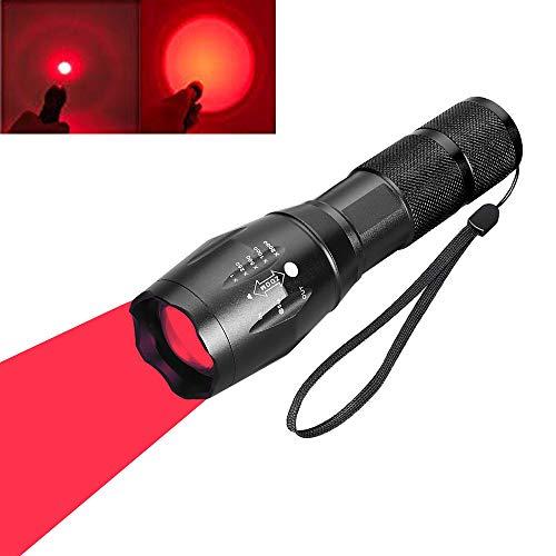 BESTSUN Rotlicht LED Taschenlampe, rote Taktische Taschenlampe Signallampen Zoomable Einstellbarer Fokus 1-Modus für Nachtsicht Astronomie Angeln