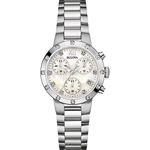 Bulova Femme Bracelet montre chronographe en acier inoxydable Diamond 96W202