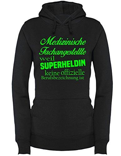 Medizinische Fachangestellte - Weil Superheldin keine Offizielle Berufsbezeichnung ist - Damen Hoodie Schwarz/Neongruen