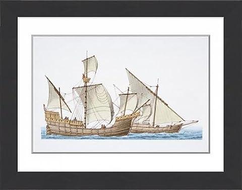 Framed Print of The 1492 ship Santa Maria and her sister ship Nina, side view