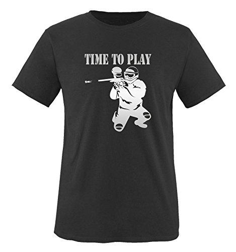 TIME TO PLAY - PAINTBALL - Herren Unisex T-Shirt Schwarz / Siber