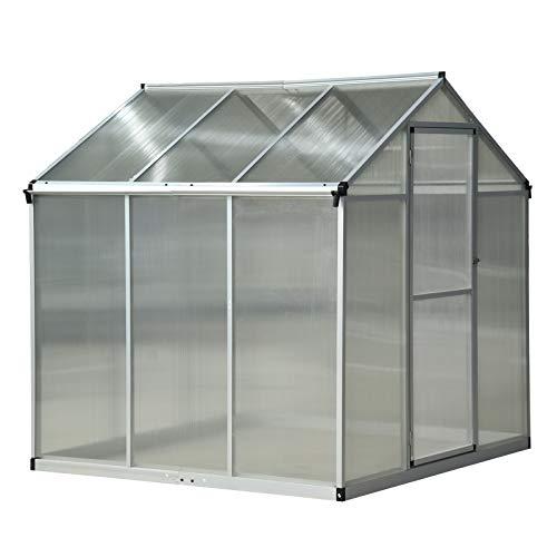 outsunny serra per piante da giardino orto tetto regolabile porta scorrevole base zincata telaio in alluminio 182 x 190 x 195 cm