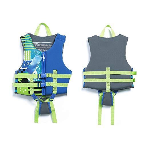 HUOFEIKE Schwimmtraining Hilfsweste für Kinder, Schwimmanzug Schaum Badeanzug Wasserpark einstellbar Sommer blau schwarz Bootfahren Strand Brandung Treiben,Blue,L