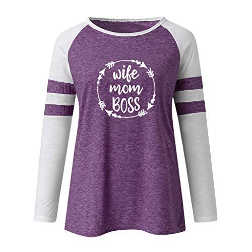 Gute Kostüm Promi - DOFENG Damen T Shirt Bluse Sweatshirt Damen Lange Ärmel Mode Locker Drucken Lässig O Hals Pullover Oberteil Tops (E-Violett, X-Large)