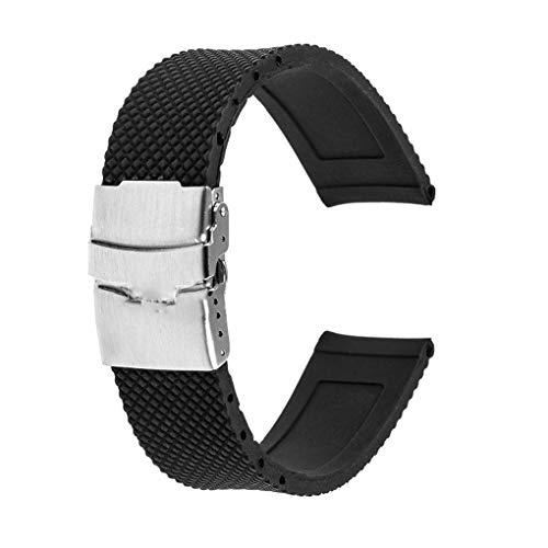 Fornateu wasserdichte Silikon-Uhrenarmband Faltschließe Armband Fest Grid Band Ersatzuhrenzubehör