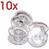 SODIAL(R) 10 x canettes de machine ¨¤ coudre/bobines de fil plastiques transparentes
