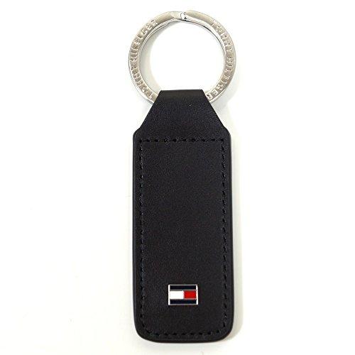 Tommy Hilfiger Eton Keyfob Schwarz AM0AM01991-002 Schlüsselanhänger Taschenanhänger Anhänger Schlüsselringanhänger (Kalbsleder-schlüsselanhänger)