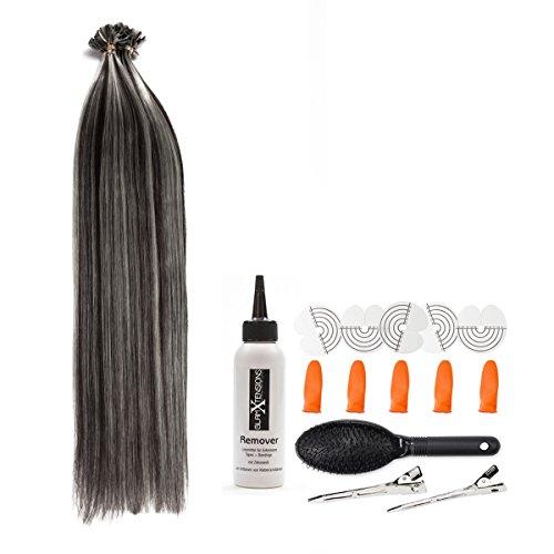 Extension, ciocca realizzata con capelli neri veri, lunghezza 50 cm, peso 0,5 g, con cheratina, per allungare o infoltire i capelli