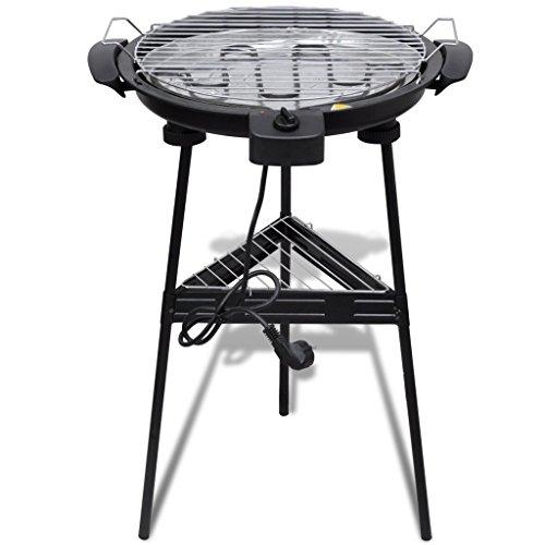 Festnight Barbacoa eléctrica con parilla y soporte - redonda