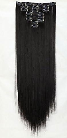 S-noilite - 8 Extensions 58 cm cheveux lisses et souples à clipser - extensions cheveux clips naturel-naturel noir