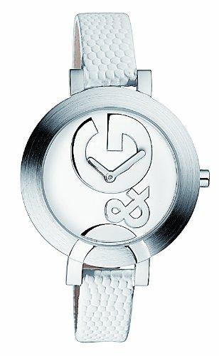 D&G DW0519 - Reloj de Señora movimiento de cuarzo con correa de piel blanco