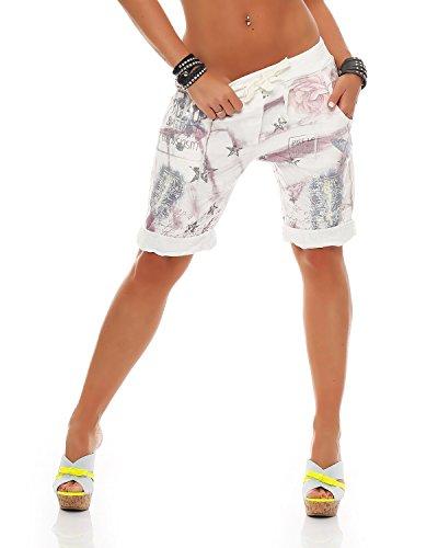 Zarmexx Damen Bermuda Shorts Baggy Hose Boyfriend Freizeithose Haremshose Sporthose mit Blumendruck Baumwolle One Size (Einheitsgröße: Gr. 36-40, Flieder)