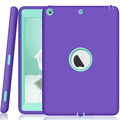 ZERMU Schutzhülle für iPad 9.7 2018/2017, 3-in-1, strapazierfähig, stoßfest, robust, aus Silikon und hartem Polycarbonat, stoßdämpfend, für Das iPad 6. Generation, Purple-Aqua