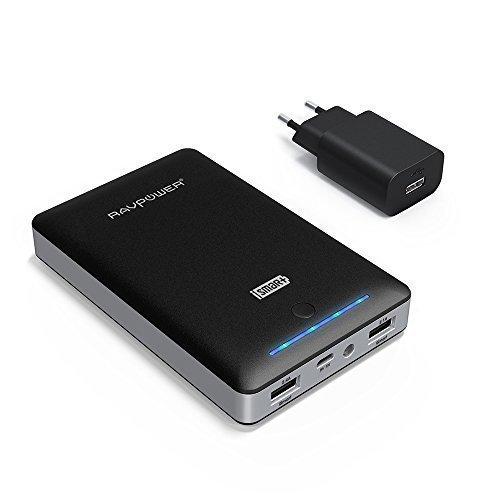 RAVPower Caricabatterie Portatile 16750mah da Uscita 4.5A (2.4A+2.1A), Entrata 2A Batteria Esterna con iSmart Carica Veloce, Alta Capacità, Compatto per tutti i Cellulari [ Adattatore 2A incluso