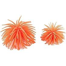 Sonline 2 Pcs mar anaranjada punteado blanco silicona Anemona Acuario Corales Decoracion para Acuario