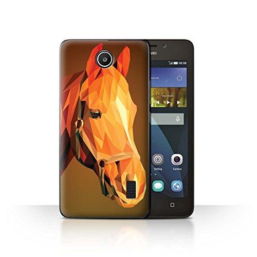 Stuff4® Hülle/Case für Huawei Y635 / Braunes Pferd Muster/Geometrisches Tier Tierwelt Kollektion