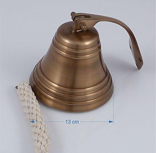 Schiffsglocke Messing antik, Ø 12.5 cm, mit Wandhalterung, Glockenstock und geflochtenem...