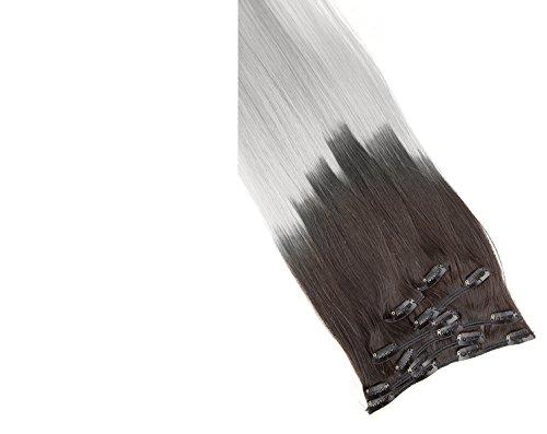 Remy Clip In Extensions Set 100% Echthaar 7 Teilig 70 Gramm Hochwertige Haarverlängerung und Haarverdichtung in 40cm Länge Clip-In Hair Extension Nr.600 Ombre 1b/ Grau